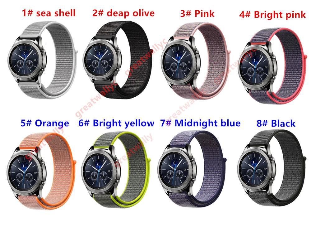 삼성 기어 S3 클래식 밀리터리 나일론 루프 시계 밴드 22mm Xiaomi Amazfit Watch Band 퀵 릴리스 스트랩 스포츠 벨트