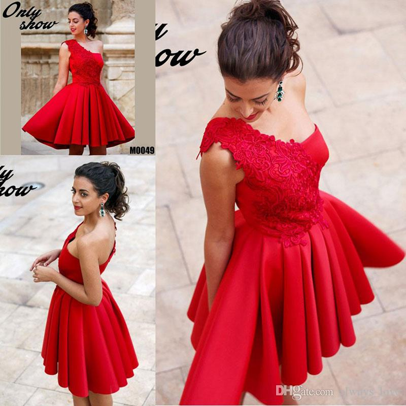 2ca2542703b Red Cocktail Dress One Shoulder Lace Short Prom Party Dress Formal Event  Gown Plus Size Vestidos De Coctel Rojos Cheap Cocktail Dresses Canada Cheap  Red ...