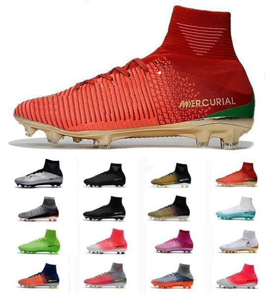 reputable site 76f49 d880a Acheter Nike Mercurial Superfly V FG Hommes Argent Argent Chaussures De  Football Cristiano Ronaldo Bottes De Football Mercurial Champions Hommes CR7  ...