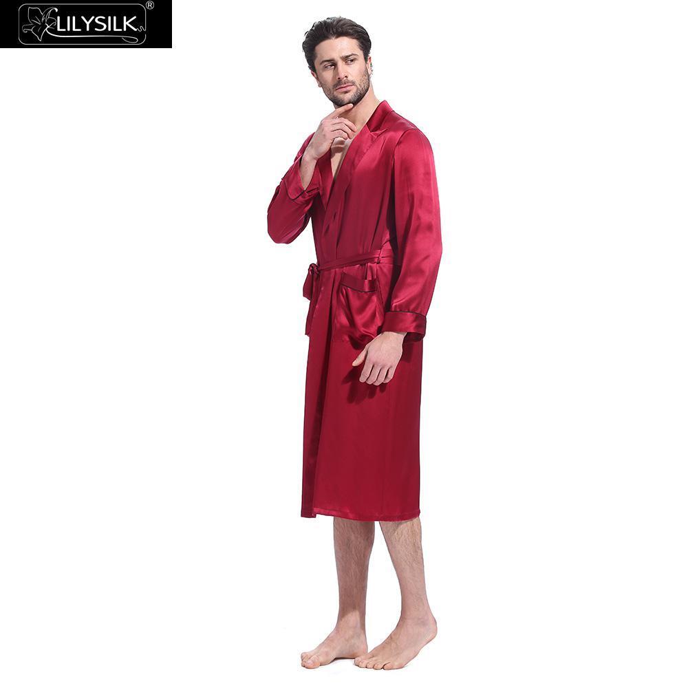 2019 Lilysilk Robe Male Natural Chinese Silk Bathrobe For Men Sleepwear  Kimono Bath Long Designer Long Sleeve Belt Tier Pockets Brand From Genguo 2841dab58