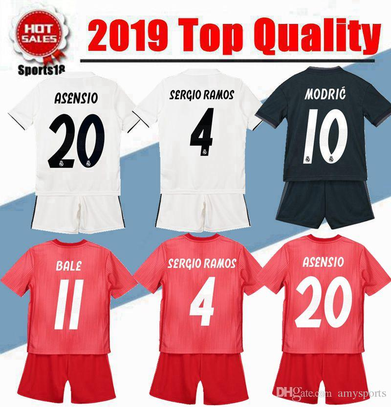 adab2a5b9c3 2019 2018 2019 Kids Kit Real Madrid Soccer Jerseys New 18 19 Youth Boy  VINICIUS JR Modric BALE RAMOS ISCO MODRIC Football Shirt Thailand Quality  From ...