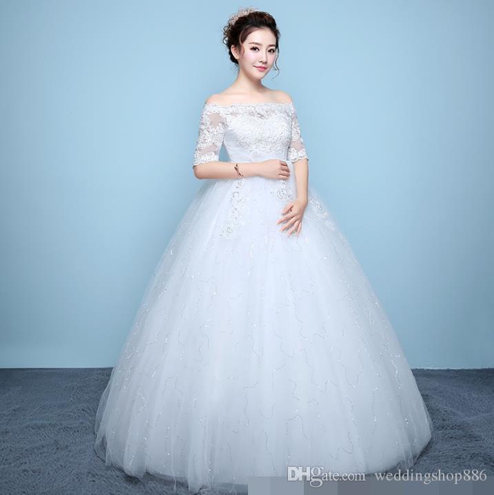 6b9900e72a13 Acquista Abiti Da Sposa Economici Senza Spalline In Pizzo Senza Spalline Appliques  Ball Gown Abiti Da Sposa 2018 Graceful Lace Ball Gown Wedding Gown ...