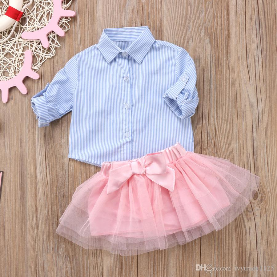INS new girl t shirt set children's suits Turn Down Collar Stripped shirt + tutu skirts girl sets girl shirt skirt clothing sets