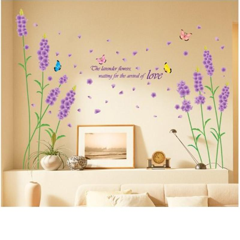 beautiful purple stem lavender flowers with butterflies love wall