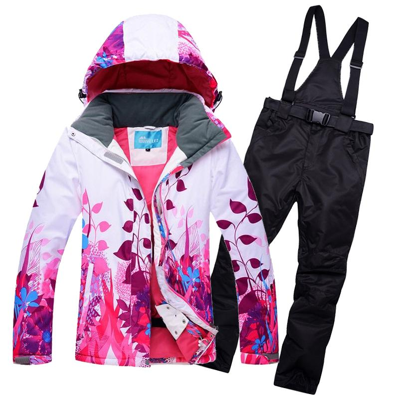 2019 Women Snowboard Suit Fleeced Hooded Ski Jackets + Bib Snowpants Set Woman  Winter Sports Snow Wear Clothes Thermal Breathable From Cbaoyu 2a51ed255