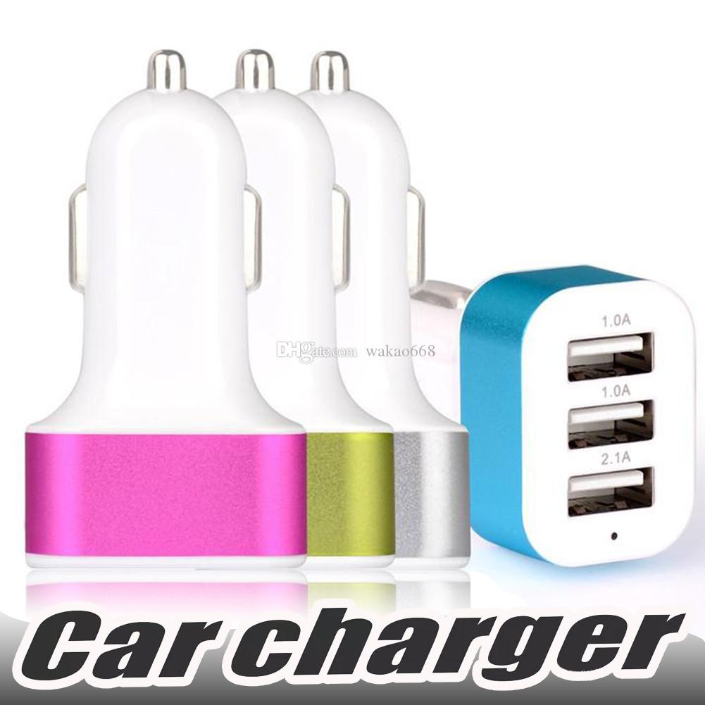 Hot Selling Car Charger 3-port Rapid USB Car battery Chargers Cigarette  Charger Adapter For Samsung S6 S7 Edge S8 Plus iphone X 8
