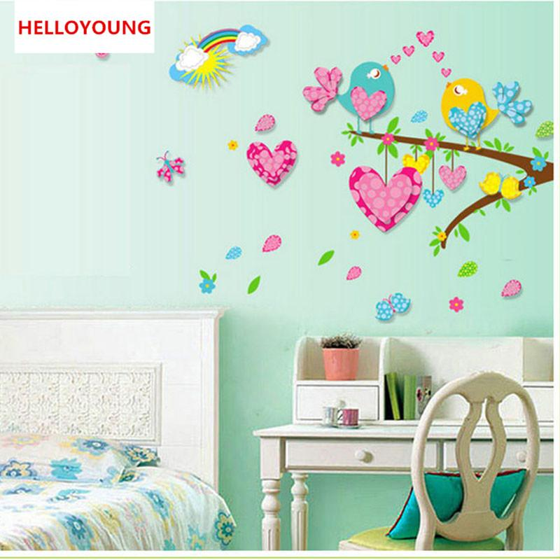 stickers wall sticker,heart love bird on the colorful branc, 3d
