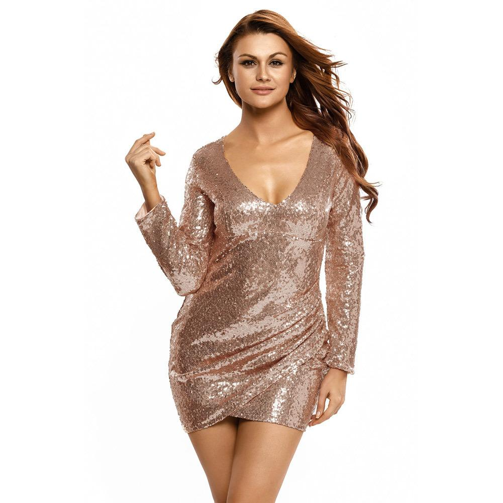 e6cb720bd113 Sexy Women Sequin Bodycon Mini Dress Ruched Plunge V Neck Short Wrap Dress  Zip Back Long Sleeve Night Club Party Dresses Roupa Beach Dresses Sequin  Dress ...