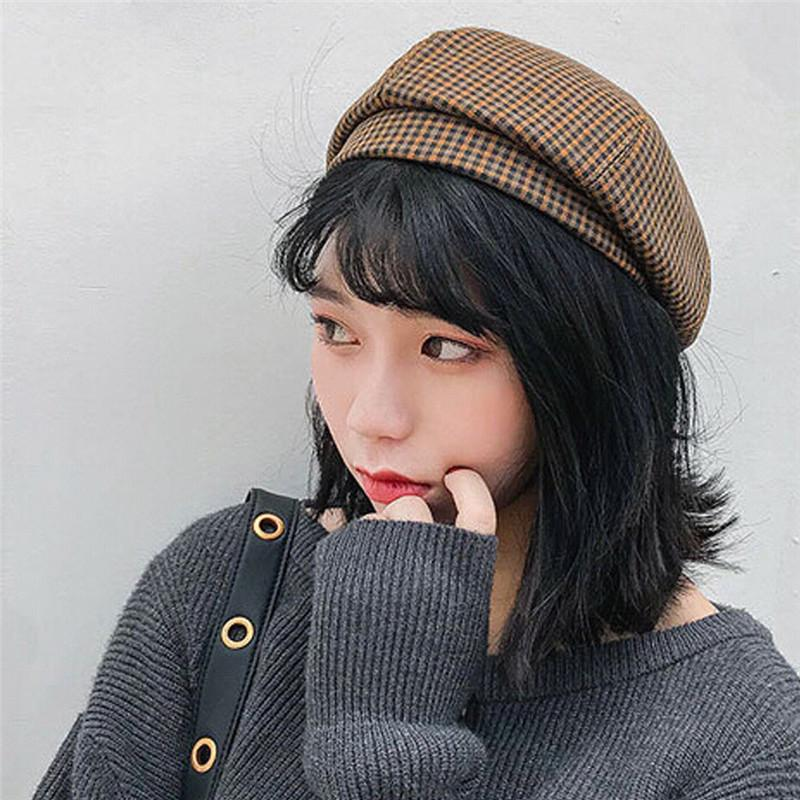 2019 Chic Women Check Beret French Artist Warm Beanie Hat Fashion Winter  Ski Cap Romantic Beret Hats From Playnice ff6ef63cab14