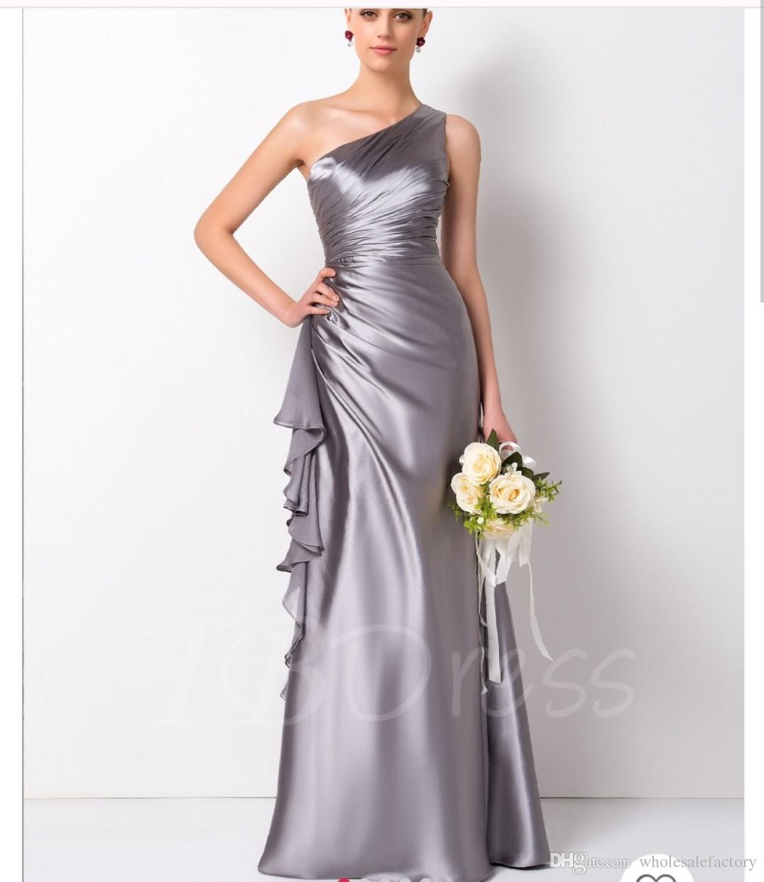 2018 Elegant One Shoulder Satin Mermaid Long bridesmaid Dresses Ruffles Floor Length Evening Dress Prom Gowns Wedding Party Dresses