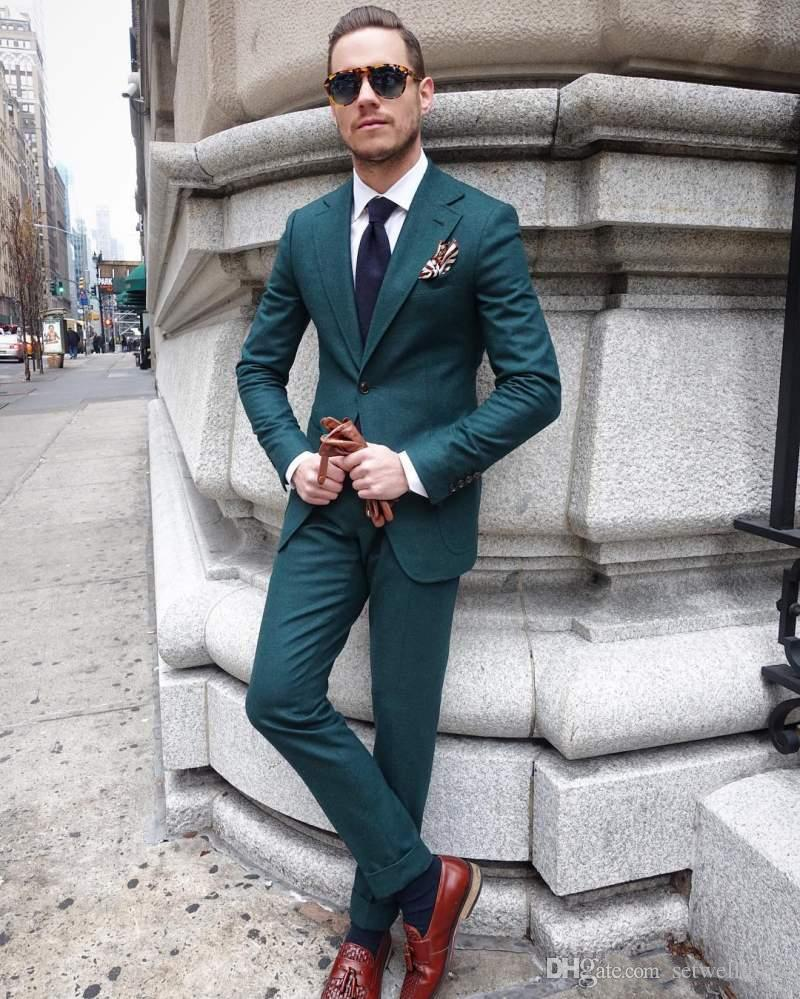 2018 Cheap Slim Fit Hunter Green Mens Suit For Wedding Two Pieces Groomsmen Tuxedos Custom Made Formal Prom Party Suits Jacket+Pants+Tie
