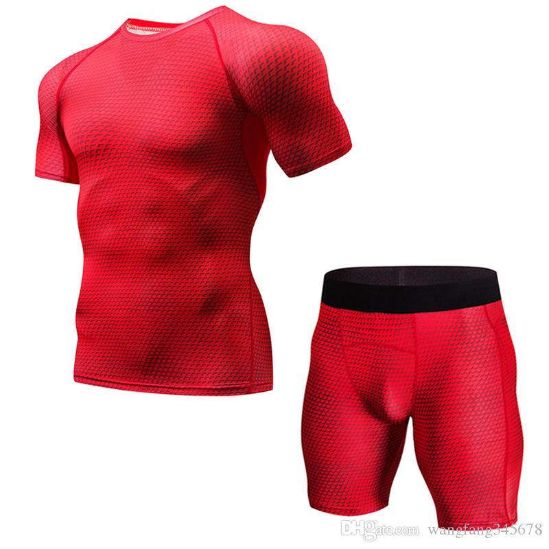 1cef4da55415 Fitness Suit Set of 2 Men s Quick-drying Short Sleeve Woven Shorts  Breathable Shirt Jogging Suit Summer Sports Set Skinny Set Shorts Quick- drying Fitness ...