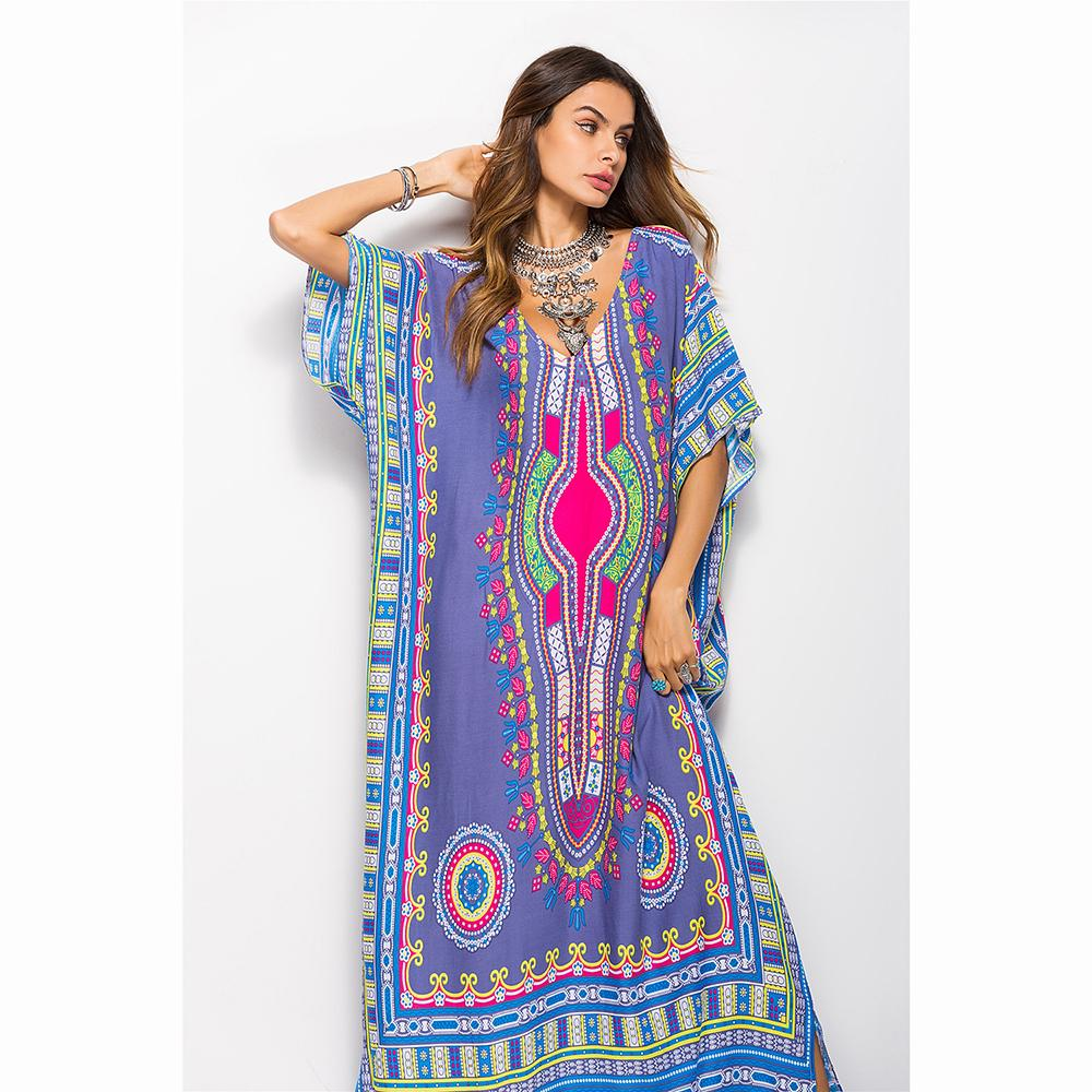 1b8c99c60e14 2019 Plus Size Orange/Gray/Black/Blue Loose Women'S Dresses Bohemian V  Collar Short Sleeves Holiday Beach Dress Print Maxi Gown From Waistband18,  ...