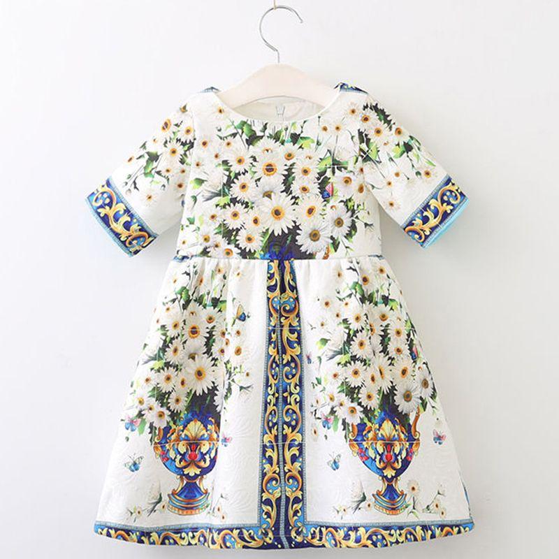 44e436e8a933c Acheter Filles Robe 2018 Automne Marque Princesse Robes De Style Européen  Et Américain Enfants Robe De Fleurs Impression Vêtements Pour Enfants De   18.1 Du ...