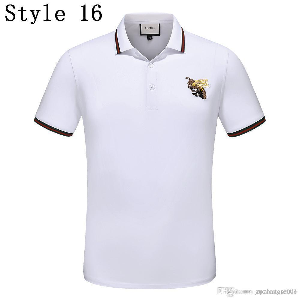 798c3fcd 2019 Sum Europe Bee Embroidery Tshirt Fashion Designer Luxury Brand Tag  Short Sleeve Striped Print Men Polo T Shirt Size M 3XL From Gucccstore001,  ...