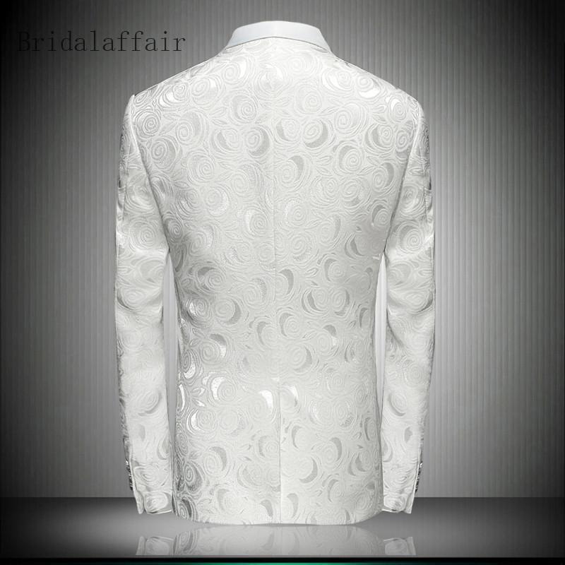 Blazer Hommes 2018 Hommes Formels Floral Blazer Élégant Châle Col Costume Blanc De Mariage Blazers Pour Hommes Stage Porter Hommes Imprimé Manteau