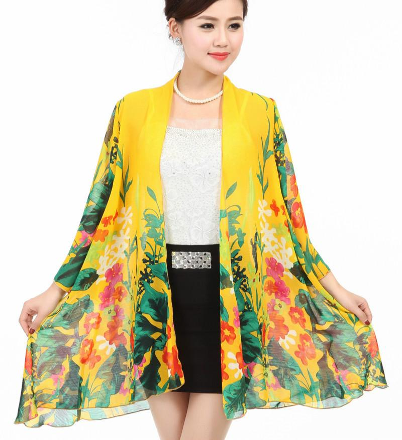 cc7c642ef 2018 Summer Plus Size Floral Print Lady's Chiffon Kimonos Women Chinese  Style Print Chiffon Shirts Monther's Beach Tops