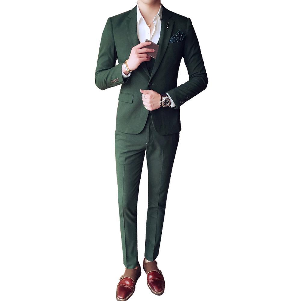 Compre Puro Blanco Verde Gris Para Hombre Novio Trajes De Boda 3 Unidades  Chaqueta + Pantalones + Chaleco Banquete Smoking Male Negocios Trajes De  Vestir A ... d41d86dca8a