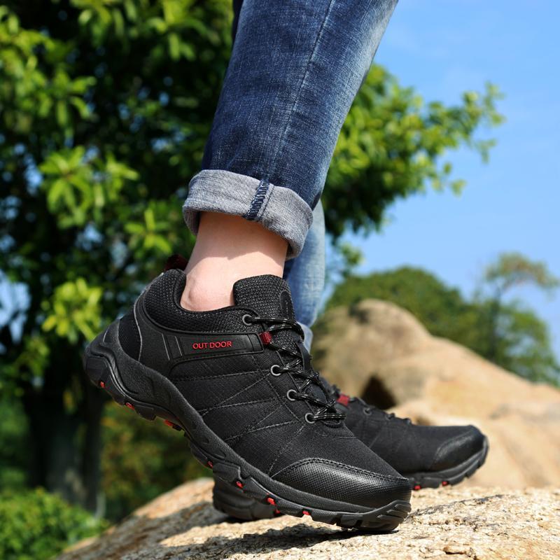 75390674d Compre Homem Tênis Para Caminhada Primavera Outono Mens Sapatilhas De  Viagem Preto Cinza Sapatos De Escalada Homens De Borracha Inferior Sapatos  De Desporto ...