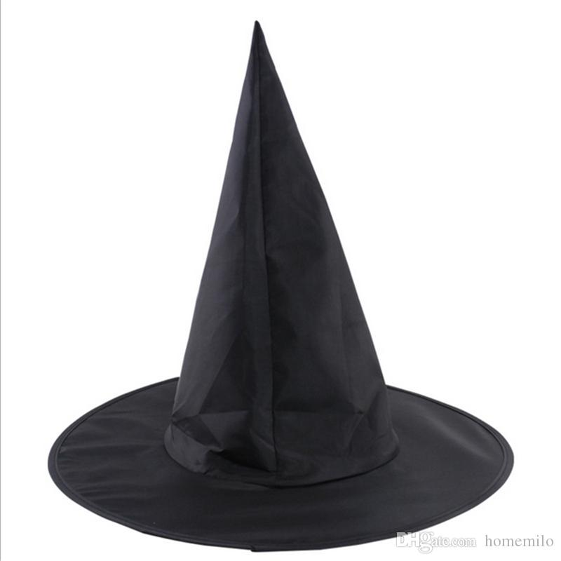add9842404fd Black Halloween Hats Oxford Cloth Magic Witch Pointed Hat Perfect Adult Kids  Halloween Decoration Party Supplies Make A Birthday Hat Make A Birthday Hat  ...