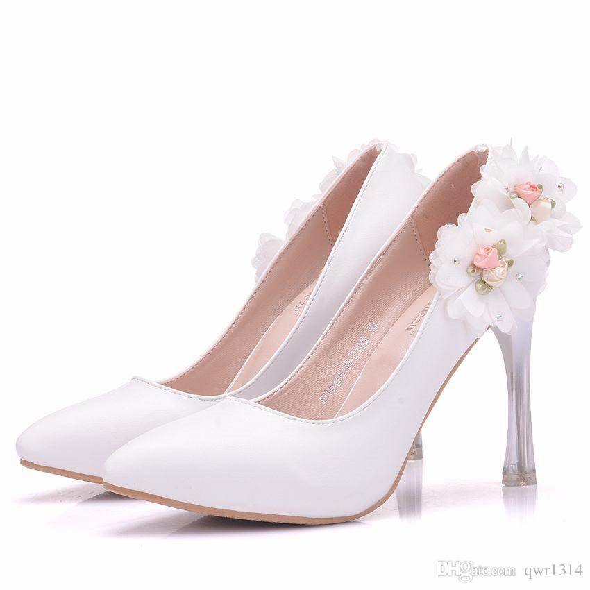 New Fashionl White Lace Flowers pointed toe shoes for women 10cm heels Beautiful wedding shoes thick heel shoes Plus Size