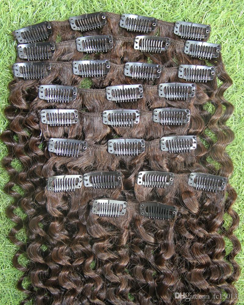 Монгольский Afro Kinky завитые клип в расширениях человеческих волос 9 шт / Set Клипсы В 4B 4C Machine Made Afro Kinky клип в расширениях Реми волос