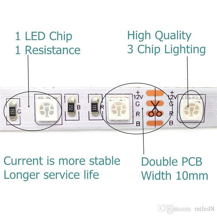 أدى شرائط 5 متر / لفة مرنة rgb led ضوء قطاع ip65 smd5050 5 متر 300 المصابيح للماء ir تحكم عن