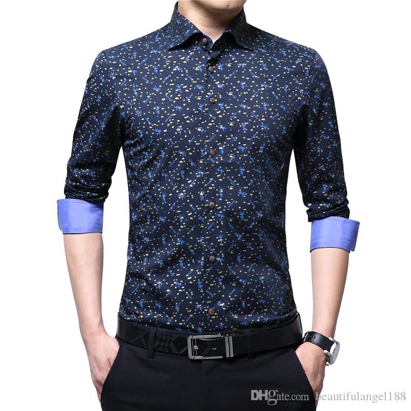 Großhandel Frühling Herbst 2018 Luxus Männer Shirt 100% Baumwolle Print  Langarm Dünnes Hemd Für Mann Floral Von Beautifulangel188,  21.12 Auf  De.Dhgate. cbfc05de7d