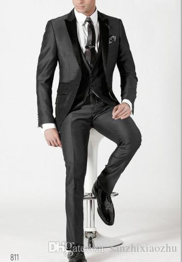 Wedding Suit For Men Groom Black Slim Fit Chinese Stand Collar Business Dress Suits Male Tuxedo Coat Pants 2018