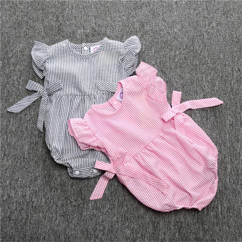 eb8501211 2019 Baby Rompers Infant Girl Newborn Baby Clothes Striped Cotton ...