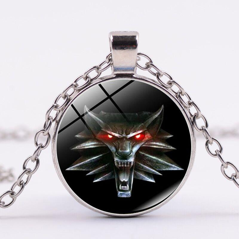 Alloy round bronze trendy girl children Time Gem Cabochon wolf head Necklace Dragon head Necklace The Witcher wolf Pendant Necklace 2018 489