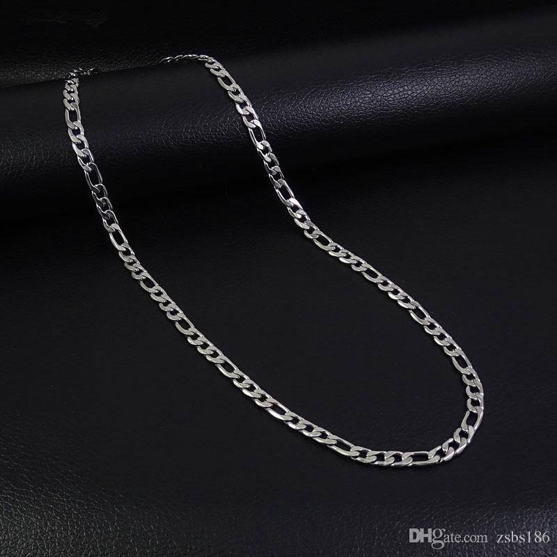 Низкая цена оптовая 4 мм из нержавеющей стали NK Фигаро цепи ожерелье мода прохладный мужские ювелирные изделия Длина 50 55 60 70 см Бесплатная доставка