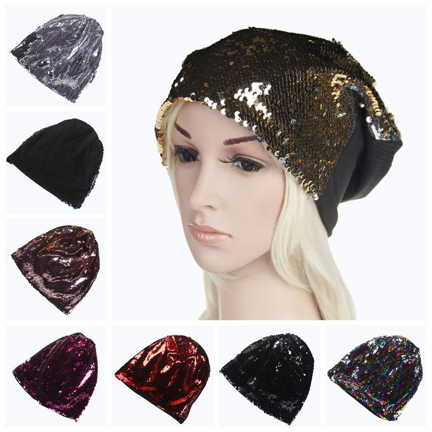 2019 Sequin Mermaid Hat Paillette Glitter Caps Sequins Bright Beanie  Outdoor Fashion Headgear Casual Snapback Hip Hop Hats GGA348 From B2b baby e1084887695