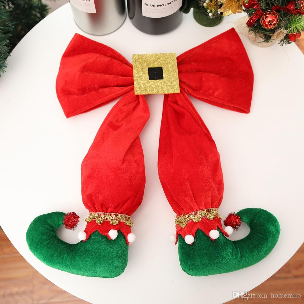 large elf legs red bows hanging pendants christmas tree toppers christmas tree ornaments christmas decorations for home 2018 outdoor christmas ornament