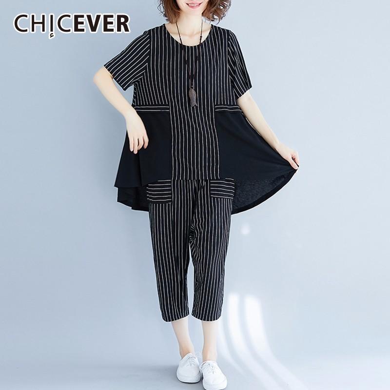 eba2ac28f83a3 CHICEVER Summer Striped Women Two Piece Set O Neck Short Sleeve Hem  Irregular Top High Elastic Waist Wide Leg Pants 2018 New