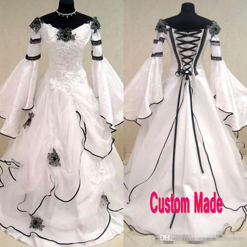 a4fcc8bec9 Discount Vintage Black And White Gothic Wedding Dress 2018 Scoop Off The  Shoulder Celtic Bridal Gowns Zipper Up Corset Handmade Flowers Sweep Train  Princess ...