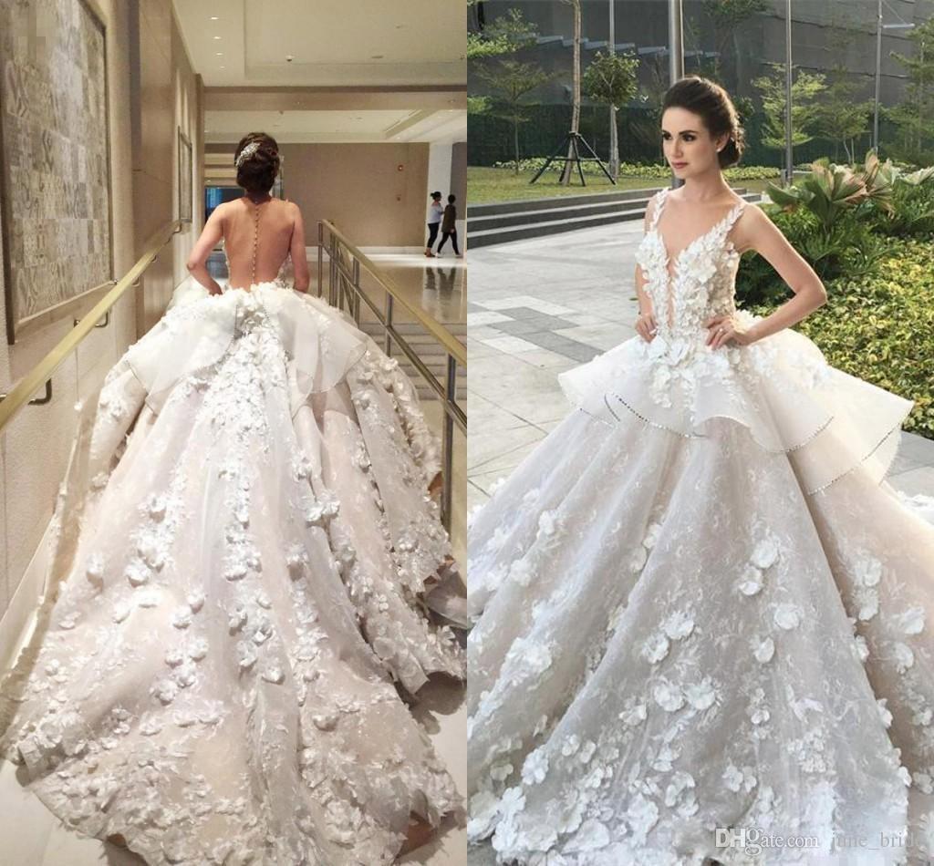 Großhandel 2018 Luxus 3d Blumen Appliques Ballkleid Brautkleider ...