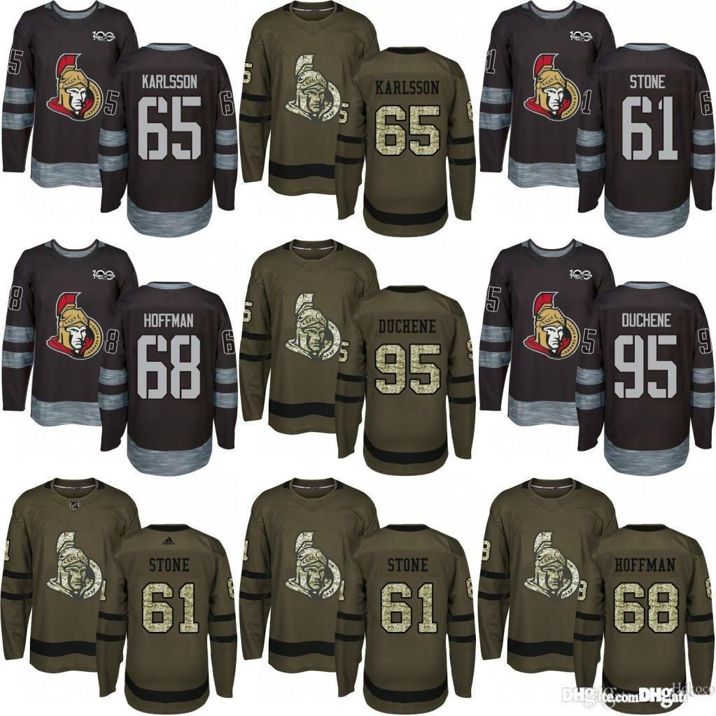2019 Ottawa Hockey Jerseys 95 Matt Duchene 65 Erik Karlsson 61 Mark Stone  68 Mike Hoffman Green Black Jersey 100th Anniversary Hockey Jerseys Jersey  65 Erik ... 5611abbcc