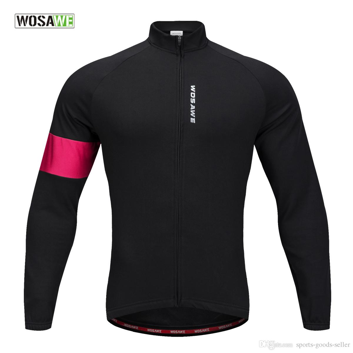WOSAWE New Men s Long Sleeve Jersey Thermal Fleece Cycling Wear for ... 62267b82b