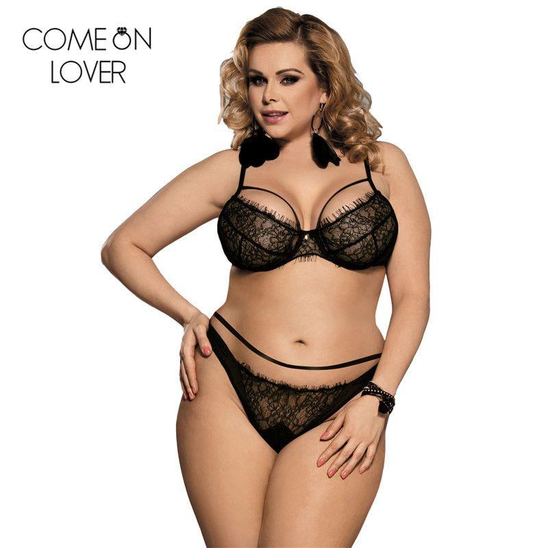 73f0052a341c Comenlover Plus Size 3XL/5XL Push Up Sexy Bra Set Black/White Erotica Lace  Bra Lingerie Sets RE80293 Hot Sexy Lingerie Bralette Y18101502 Underwear  Sets For ...