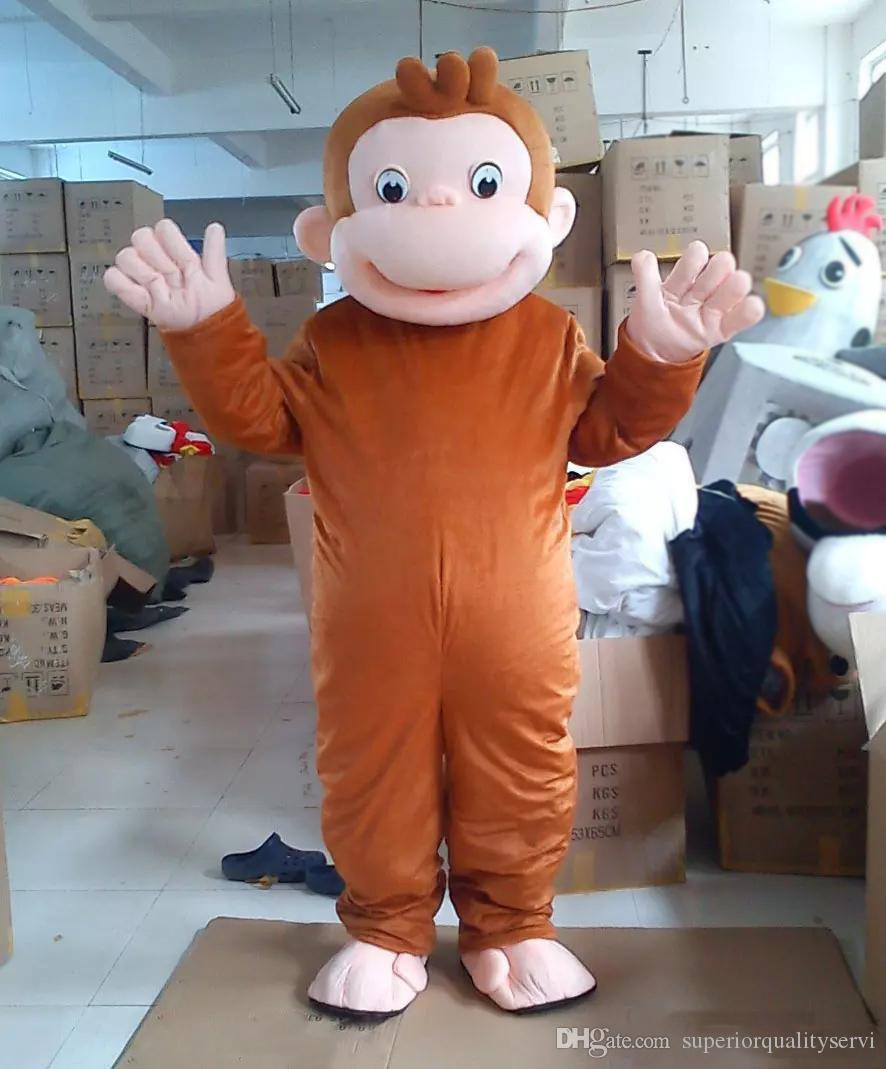 2018 hot new Curious George Monkey Mascot Costumes Cartoon Fancy Dress Halloween Party Costume Adult Size
