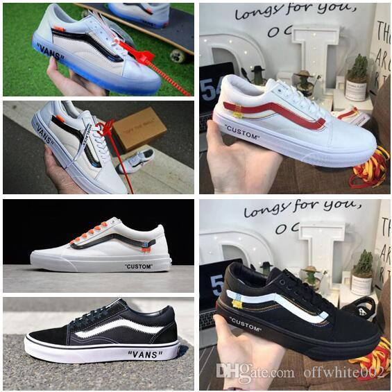 2018 Old Skool Running Shoes Classic Black White Customs SHOELACES Designer  Fashion Casual Famous Brand Canvas Sneakers Running Shop Sneakers Sale From  ... d87e7c43b