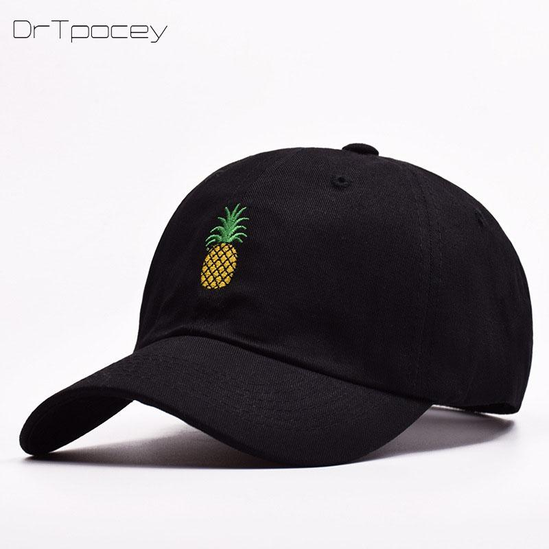 841f9f7c2ba11 Pineapple Embroidery Baseball Cap Women Men 100% Hipster Cotton Dad Cap  Fruit Snapback Hip Hop Dad Hat Trucker Casquette Custom Hat Caps For Men  From ...