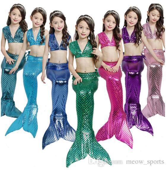 891f4d01d6df5 3PCS/Set 7 Colors Baby Girls The Little Mermaid Tail Princess Dress Cosplay  Costume Kids for Girl Fancy Party Dress