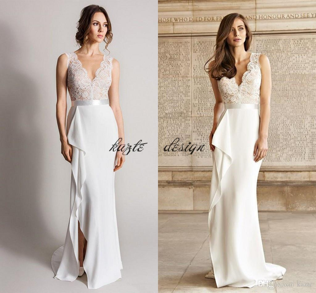 White Sexy Deep V Neck Wedding Dresses Illusion Lace Top Side Splits ...