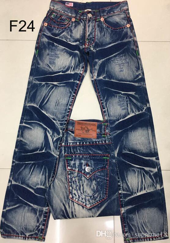 fc33fae89b Compre 2018 Nuevos Hombres Jeans Verdaderos ROBIN Pantalones De Alta Calidad  Del Diseñador Del Dril De Algodón Color Sólido Oscuro Straight Tr Jean Para  ...