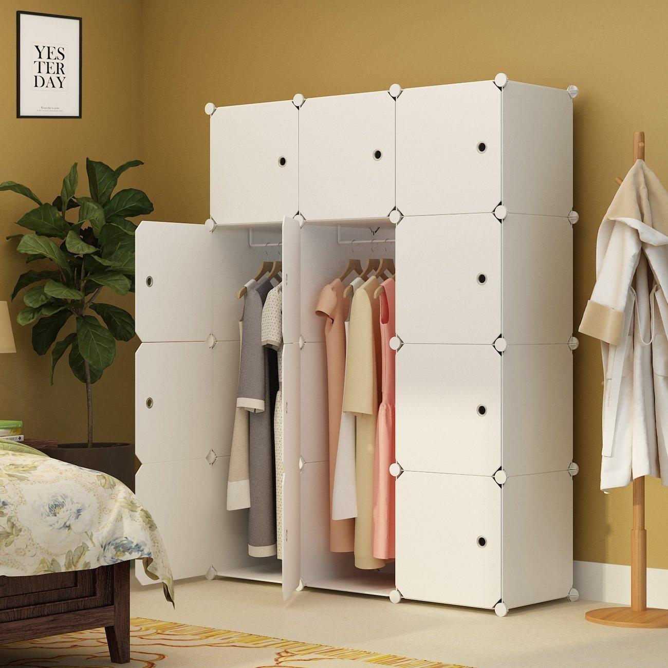 Armadio guardaroba portatile per camera da letto Armadietto Armadio Cube  Storage Organizer, bianco, 6 cubi 2 sezioni sospese