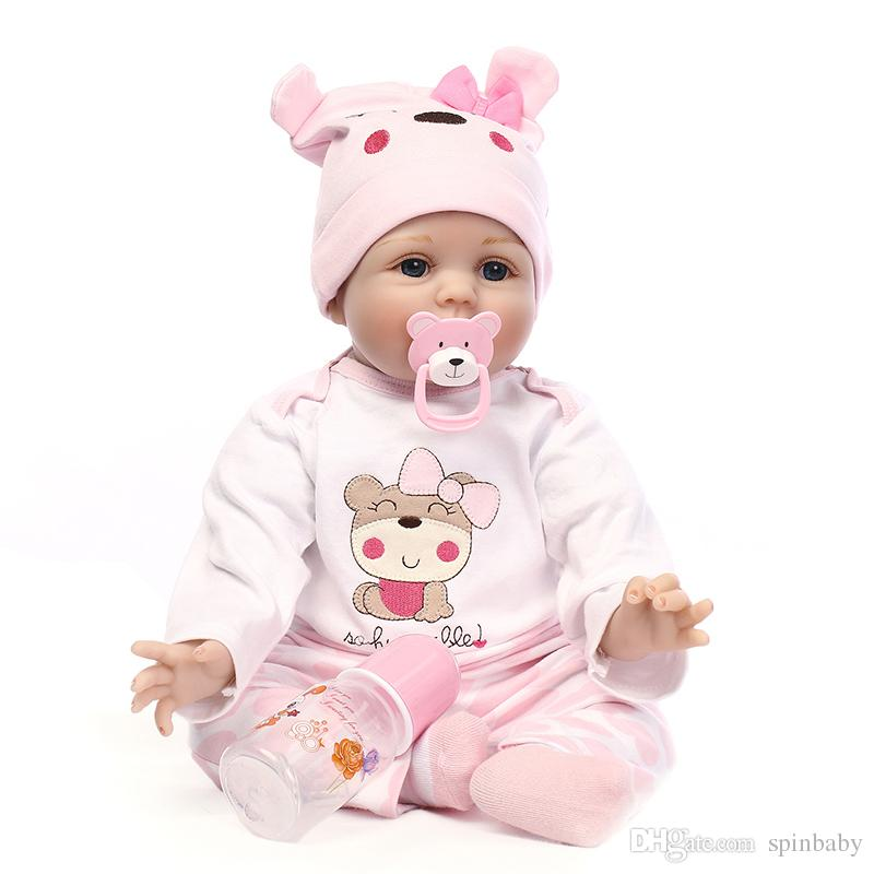 9bb9350ad93 55cm 22 Inch New Arrival Lifelike Toddler Baby Handmade Silicone Vinyl  Adorable Girl Kid Body Reborn Baby Doll Baby Dolls Sleeping Toy Reborn  Babies Toy ...
