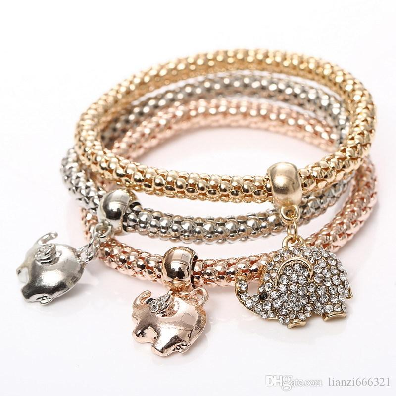 Hot Selling Fashions Vacker personlighet Trefärg Stretch Corn Chain Diamond Love Heart Armband Gratis Frakt HJ174