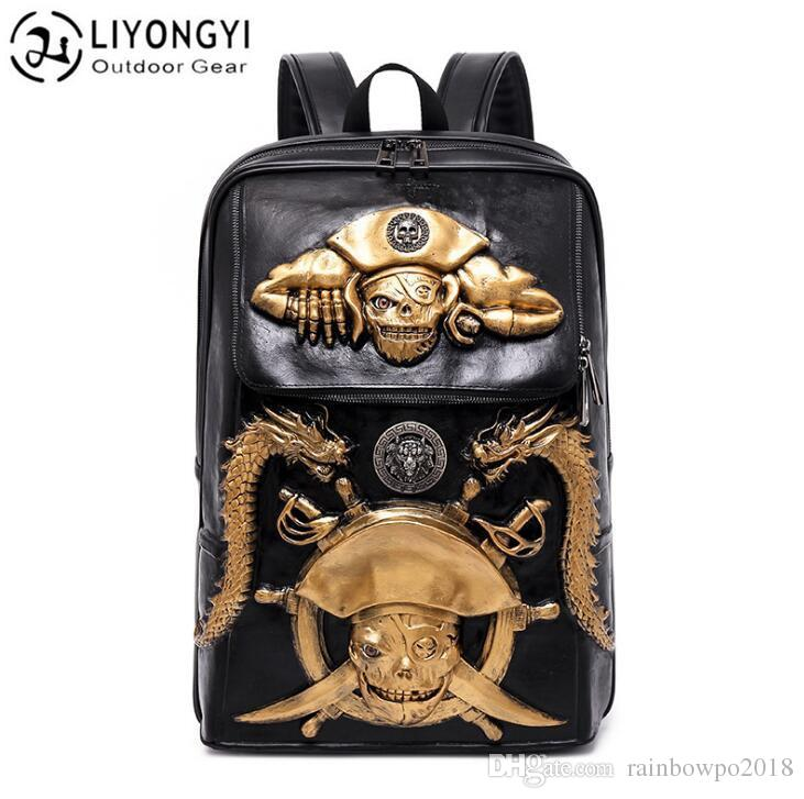 a25565de6a92 Factory Independent Brand Male Bag Personality Pirate Skipper Punk Men  Backpack 3D Solid Student Bag Outdoor Leisure Leather Travel Backpack  Jansport Big ...